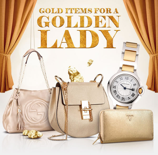 Golden accessories replica watches